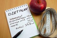 Hojas de operación (planning) de una dieta Foto de archivo libre de regalías