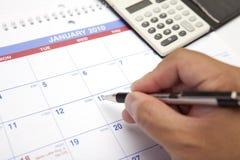 Hojas de operación (planning) del calendario Imagenes de archivo