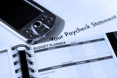 Hojas de operación (planning) del costo personal y del presupuesto Foto de archivo libre de regalías