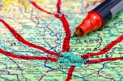 Hojas de operación (planning) del viaje Imagenes de archivo