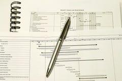 Hojas de operación (planning) y horario de proyecto Foto de archivo