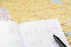 Hojas de operación (planning) de las vacaciones Fotografía de archivo libre de regalías