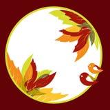 Hojas de otoño abstractas con el fondo del pájaro Fotografía de archivo