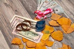 Hojas de otoño con un regalo hermoso del dólar imagen de archivo
