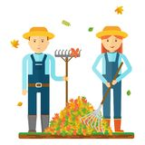 Hojas de otoño del rastrillo de los granjeros Caracteres de los granjeros Ejemplo plano del vector stock de ilustración