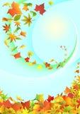 Hojas de otoño del vuelo. ilustración del vector