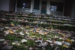 Hojas de otoño delante de las escaleras en el edificio abandonado viejo, depresión del otoño Fotos de archivo libres de regalías