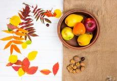 Hojas de otoño dispersadas en el escritorio blanco, placa de la arcilla con la cosecha n Imagen de archivo libre de regalías