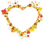 Hojas de otoño en el marco del corazón Foto de archivo