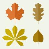 Hojas de otoño en estilo plano Fotos de archivo libres de regalías