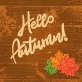 Hojas de otoño sobre fondo de madera Hola, otoño texto Fotografía de archivo libre de regalías