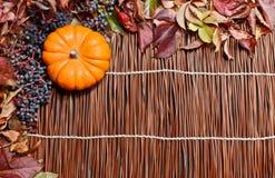 Hojas de otoño sobre la madera Imágenes de archivo libres de regalías