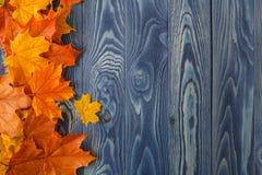 Hojas de otoño sobre viejo fondo de madera Con el espacio de la copia Imagen de archivo libre de regalías