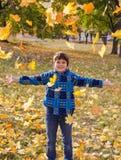Hojas de otoño sonrientes del muchacho que lanzan en parque soleado Imágenes de archivo libres de regalías