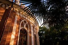 Hojas de palma contra el cielo y los edificios del ladrillo rojo Un símbolo de la relajación y de la reconstrucción Jardín botáni Foto de archivo libre de regalías
