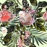 Hojas de palma del vector de la moda y modelo tropicales del perfume stock de ilustración
