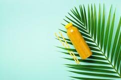 Hojas de palma y botella de naranja, piña, smoothie del mango, paja en fondo azul Bebida del verano del Detox vegetariano fotografía de archivo libre de regalías