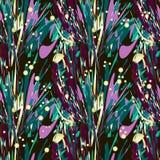 Hojas de palma y gotas abstractas del oro en fondo negro libre illustration