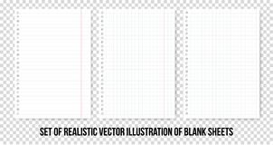 Hojas de papel ajustadas y alineadas del cuaderno o del cuaderno Hoja de papel realista del vector de líneas y del sistema de las stock de ilustración