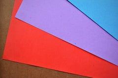 Hojas de papel coloreadas Fotografía de archivo