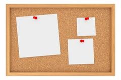 Hojas de papel de Cork Board With Three Blank aisladas en el fondo blanco imágenes de archivo libres de regalías
