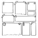 Hojas de papel dibujadas mano Cuadrado del vector de la historieta y fronteras redondas Formas del efecto del lápiz imagen de archivo libre de regalías