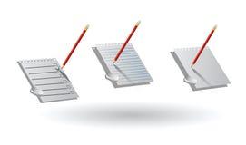 Hojas de papel, lápiz, borrador checklist Imagen de archivo libre de regalías