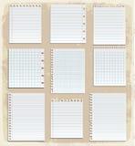 Hojas de papel, papel alineado y papel de nota Foto de archivo