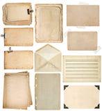 Hojas de papel usadas páginas del libro del vintage, cartulinas, notas de la música, Fotos de archivo libres de regalías