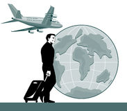 Hojas de ruta (traveler) con el globo del aeroplano Foto de archivo libre de regalías