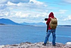Hojas de ruta (traveler) del fotógrafo de la fauna Foto de archivo