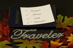 Hojas de ruta (traveler) del otoño Fotografía de archivo