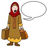 Hojas de ruta (traveler) musulmanes de la muchacha Foto de archivo libre de regalías