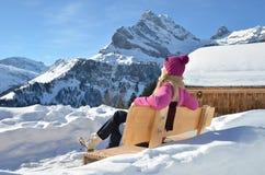 Hojas de ruta (traveler) que disfrutan de panorama alpino Fotografía de archivo