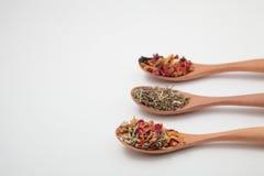 Hojas de té herbarias de la mezcla en cucharas de madera Foto de archivo