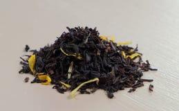 Hojas de té negras Fotografía de archivo libre de regalías