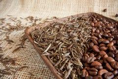Hojas de té secadas y granos de café asados: theine contra el cafeína fotos de archivo libres de regalías