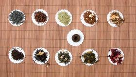 Hojas de té secas Fotos de archivo