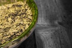 Hojas de té verdes secadas Foto de archivo