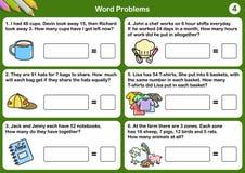 Hojas de trabajo del problema de la palabra de la matemáticas - hoja para el examen y la prueba libre illustration