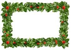 Hojas del acebo de la Navidad - marco en blanco Imagen de archivo