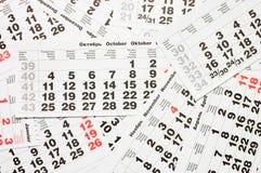 Hojas del calendario Imagen de archivo libre de regalías