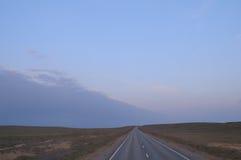 Hojas del camino para el horizonte La estepa alrededor Foto de archivo