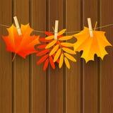 Hojas del color del otoño en fondo de madera oscuro ilustración del vector