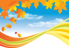 Hojas del fondo/del oro del otoño y cielo azul stock de ilustración