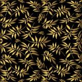 Hojas del oro en negro ilustración del vector