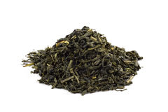 Hojas del té verde aisladas en el fondo blanco Foto de archivo libre de regalías