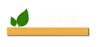 Hojas del verde con madera Fotografía de archivo