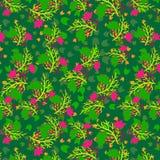 Hojas del verde y flores rosadas en un modelo de repetición inconsútil stock de ilustración