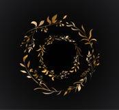 Hojas dobles del oro del círculo Casandose el sistema floral invite al diseño de tarjetas con estilo de oro del vector libre illustration